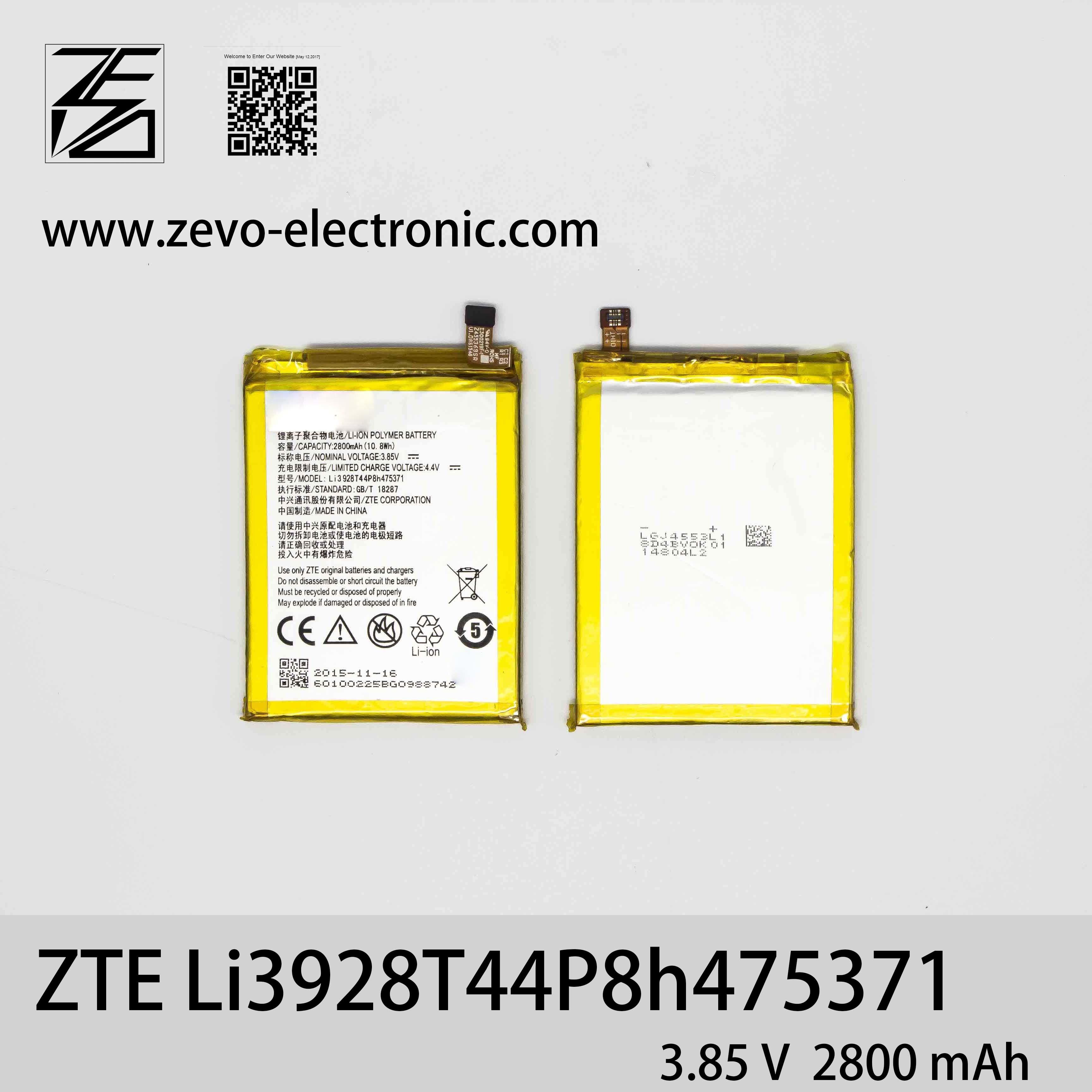 [Hot Item] 2800mAh Mobile Phone Battery 100% New Li3928t44p8h475371 for Zte