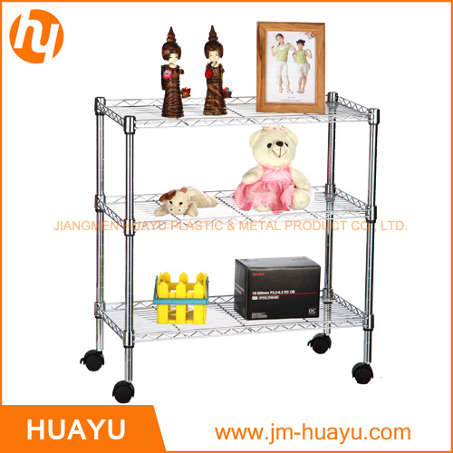 Chrome Finish Trolley Cart with Three Layers