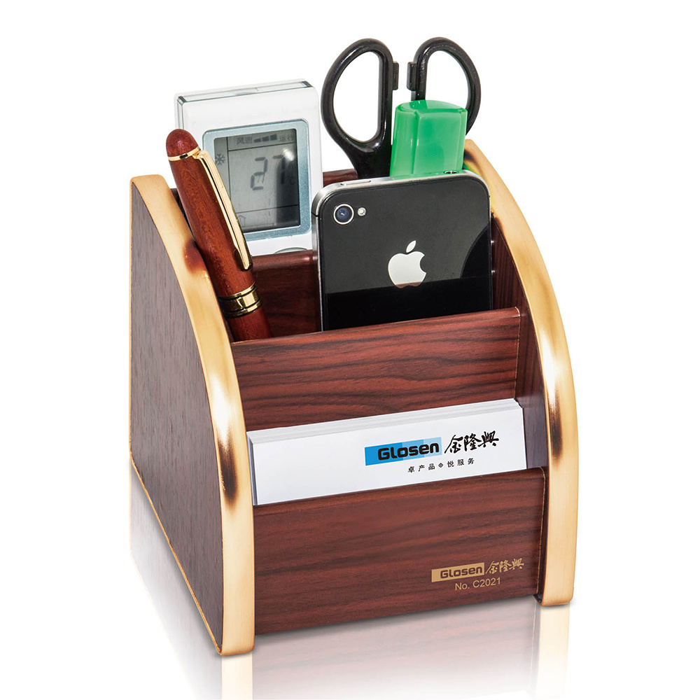 China Small Size Wooden Desk Organizer With Golden Edge Stationery Storage Box