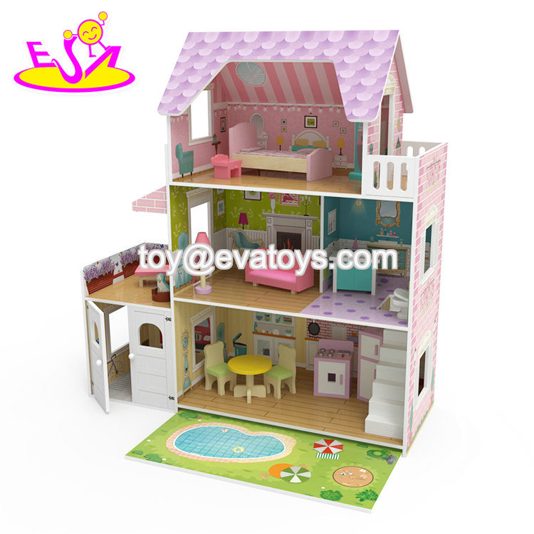 China 2019 New Arrival Kids Wooden Dollhouse Set With Swimming Pool W06a381 China Mansion Dollhouse And Dollhouse For 18 Inch Dolls Price