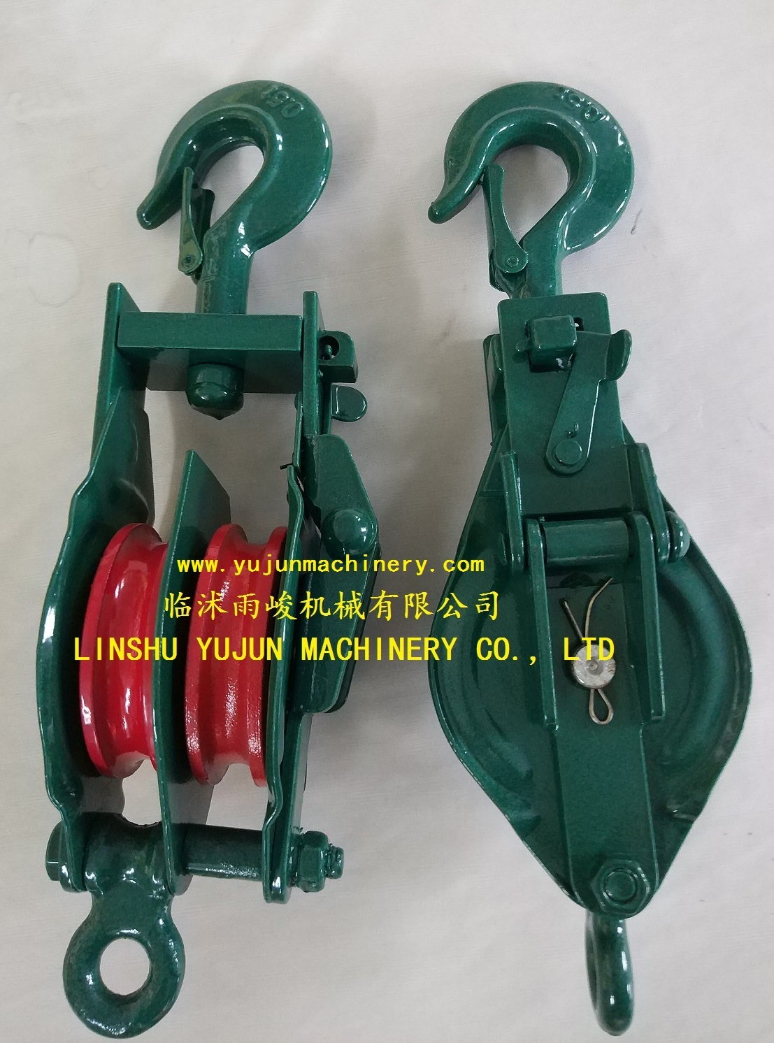 China JIS Type Wire Rope Pulley Snatch Block with Hook Double Sheave ...