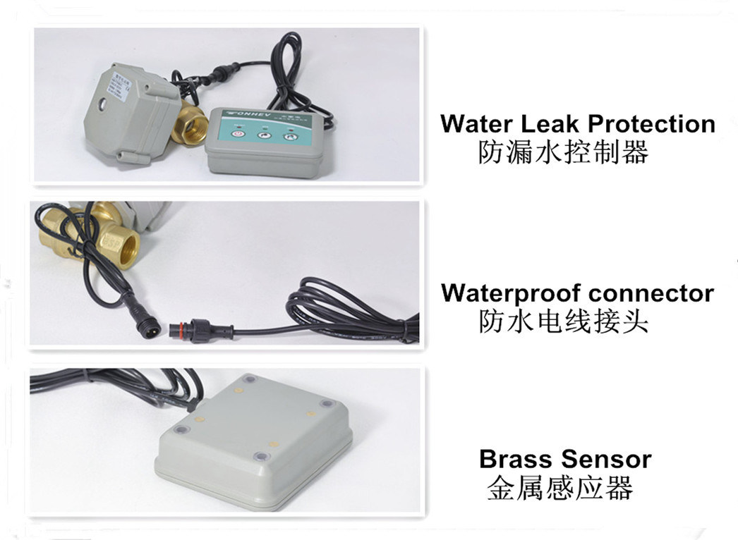 2 Way Water Leak Alarm Electric Control Brass Valve for Water Leakage Detection