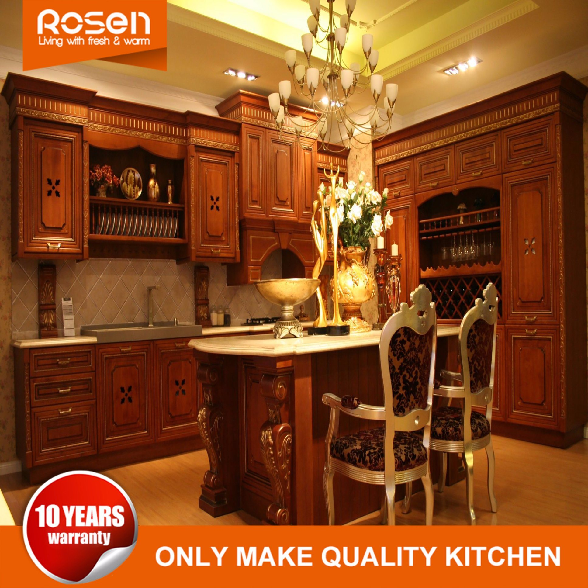 Wholesale antique home furniture solid wooden kitchen cabinet sets