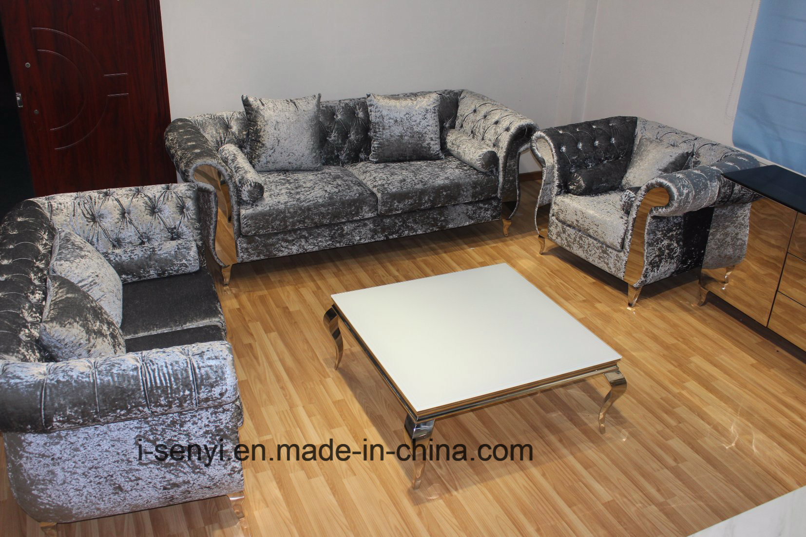 China modern italian living room furniture hotel reception stainless steel leg sofa 1 seat china home furniture living room furniture
