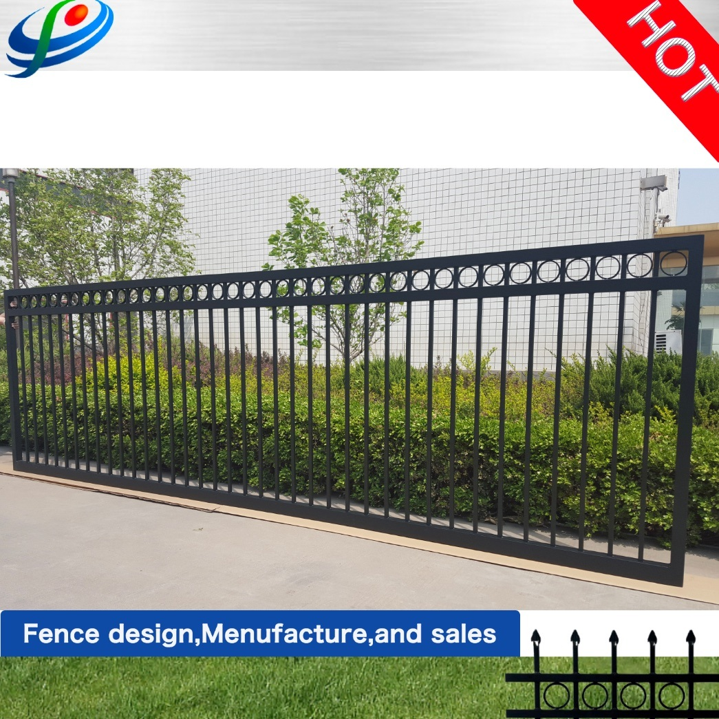 China Outdoor Entrance Big Wrought Iron Main Sliding Gate Design Sale China Wrought Iron Gate And Entrance Gate Price
