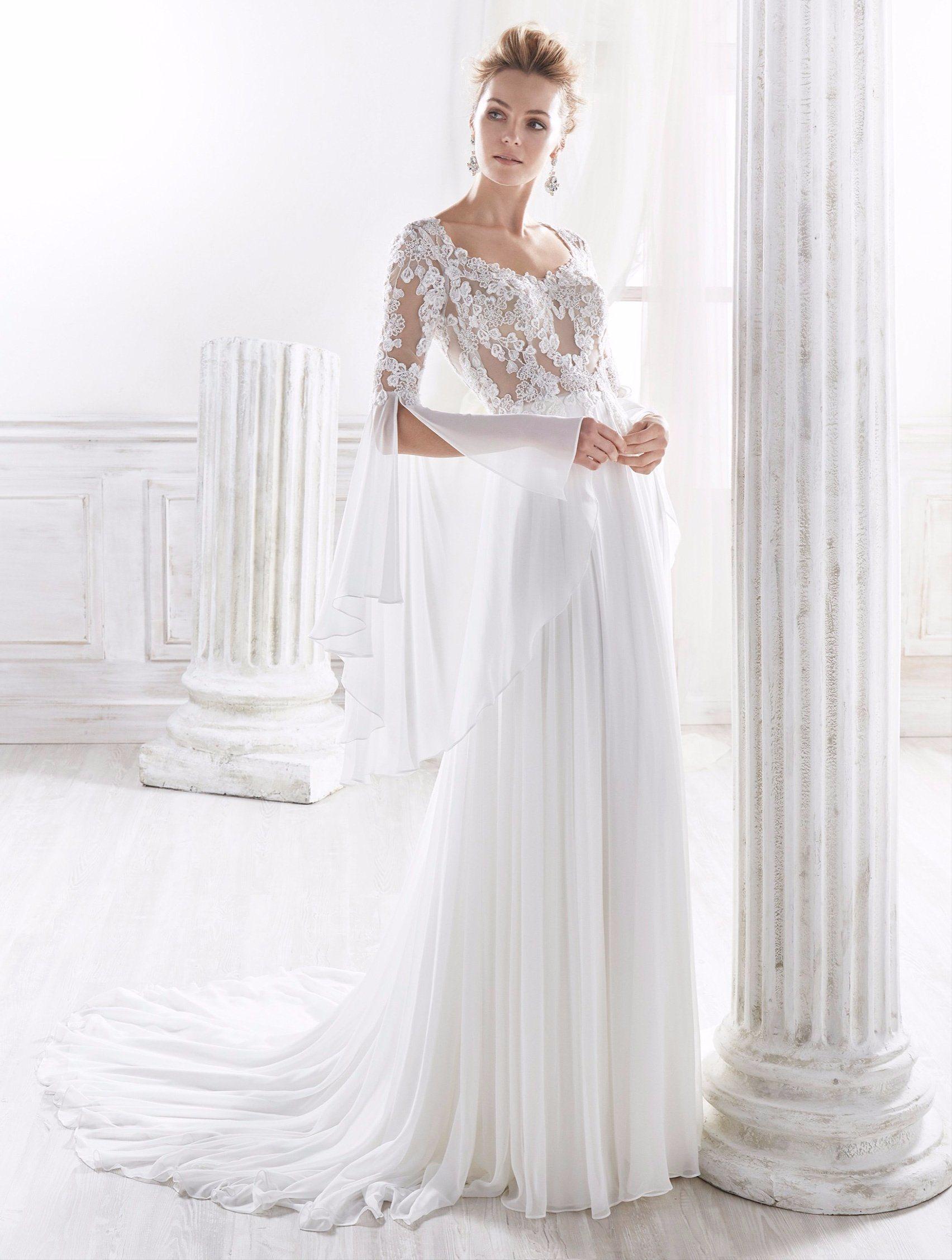 China Long Sleeve Chiffon Lace Wedding Dress Bridal Gown - China ...