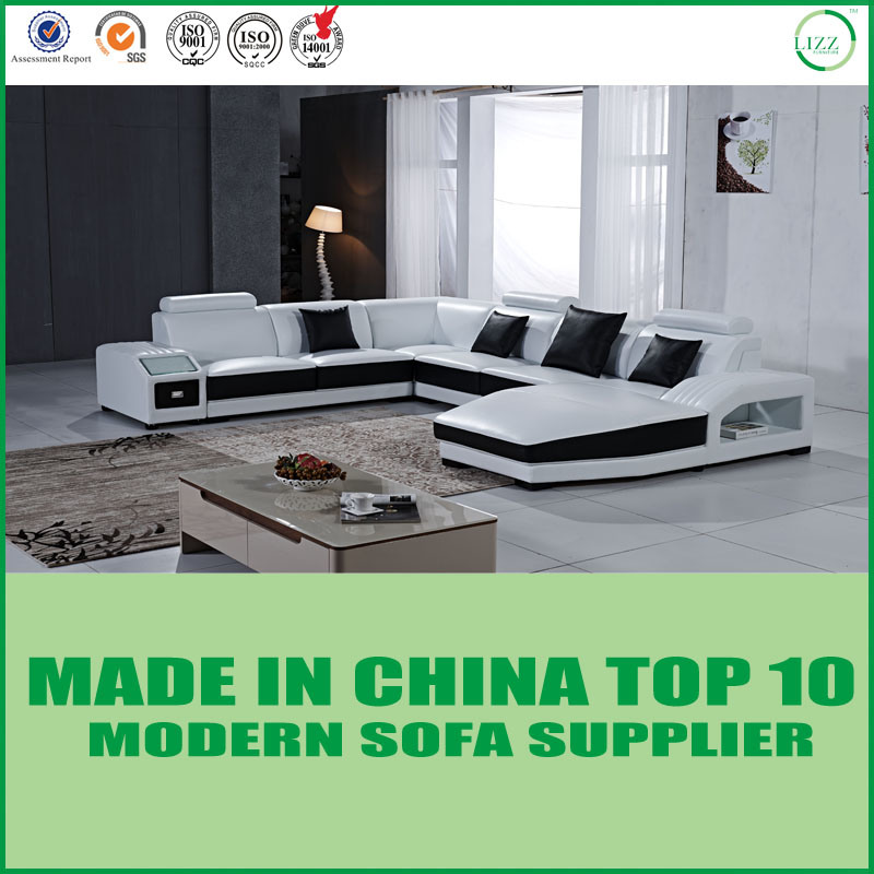 Awesome Hot Item Living Room Furniture Modern Design Leather Sectional Sofa With Led Lights Pabps2019 Chair Design Images Pabps2019Com