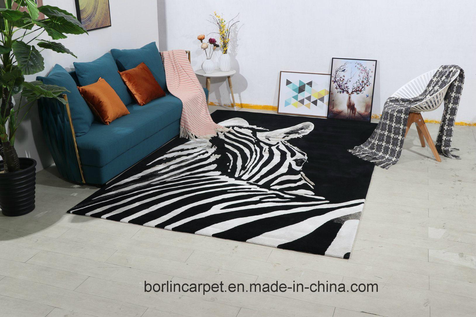 Zebra Carpet in Living Room, Handtuft Carpet, Wool Carpet ...