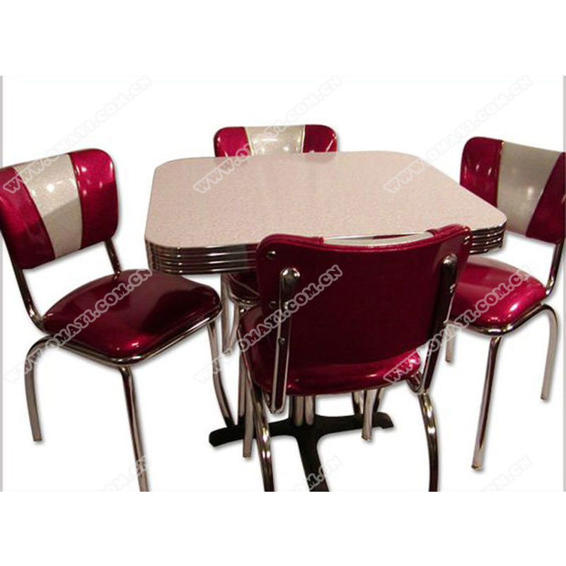 [Hot Item] American 1950s Retro Diner Chrome Table and Chair Set, MID  Century Chrome Retro Diner Table and Chair Set