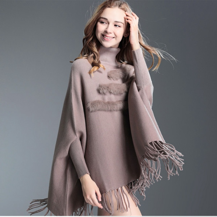 7fbae9a5e4d0 China Bat Sleeves Korean Version Sweater Women High Neck Solid Pullovers  Tassel Poncho - China Bat Sleeve Sweater