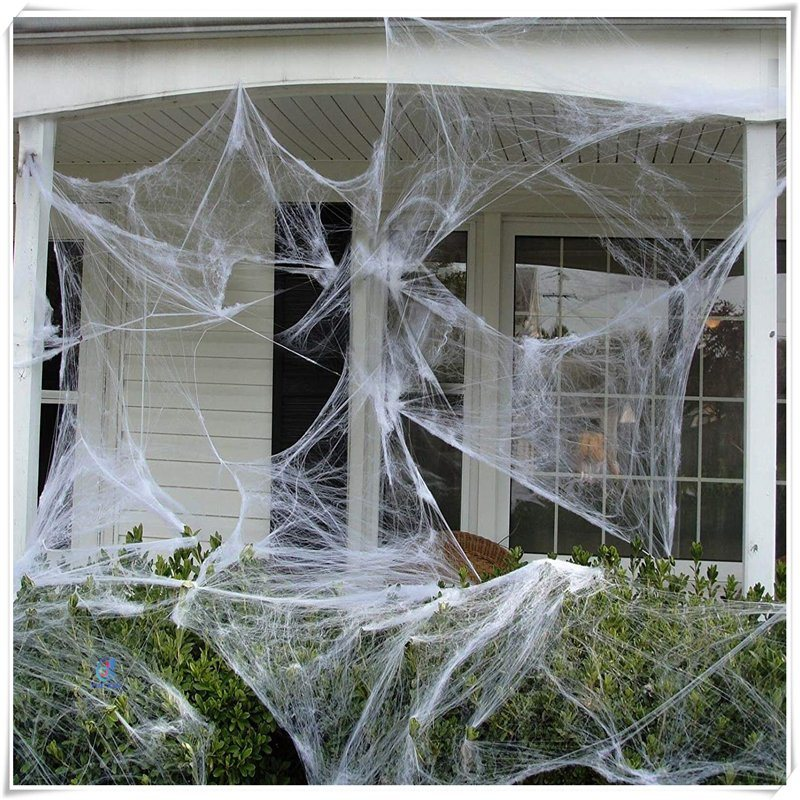 [Hot Item] Fake Spider Web Halloween Party Outdoor Decorations White
