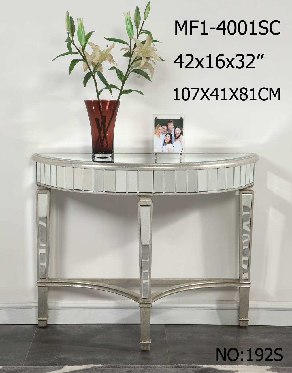 Half Moon Shape Customized Side Table with Clear Mirror