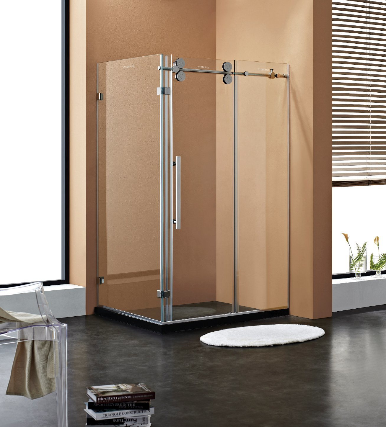 China 516 Thick Glass Big Rollers Sliding Shower Door Shower Cabin
