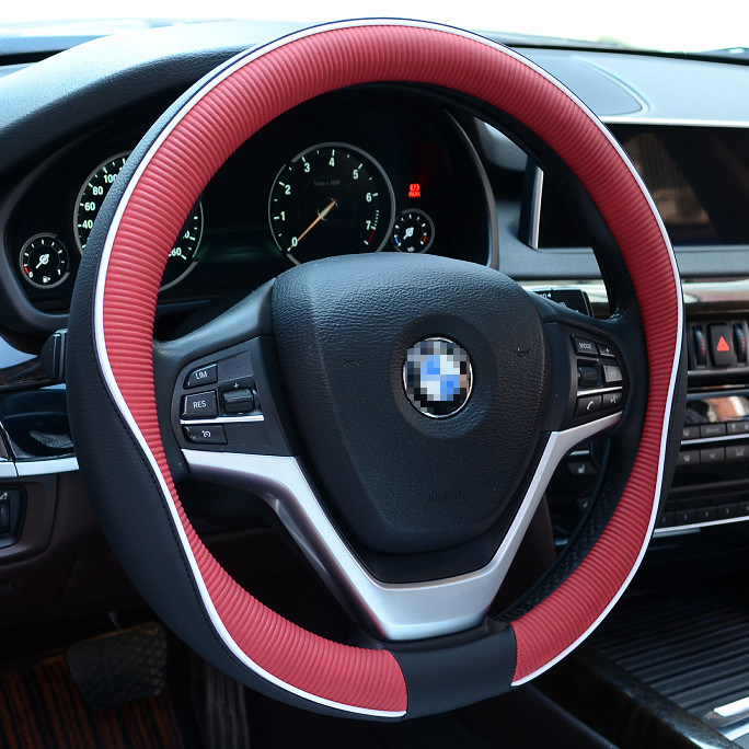 Car Steering Wheel Cover Black/&Orange Leather Universal Four seasons 38cm 15inch
