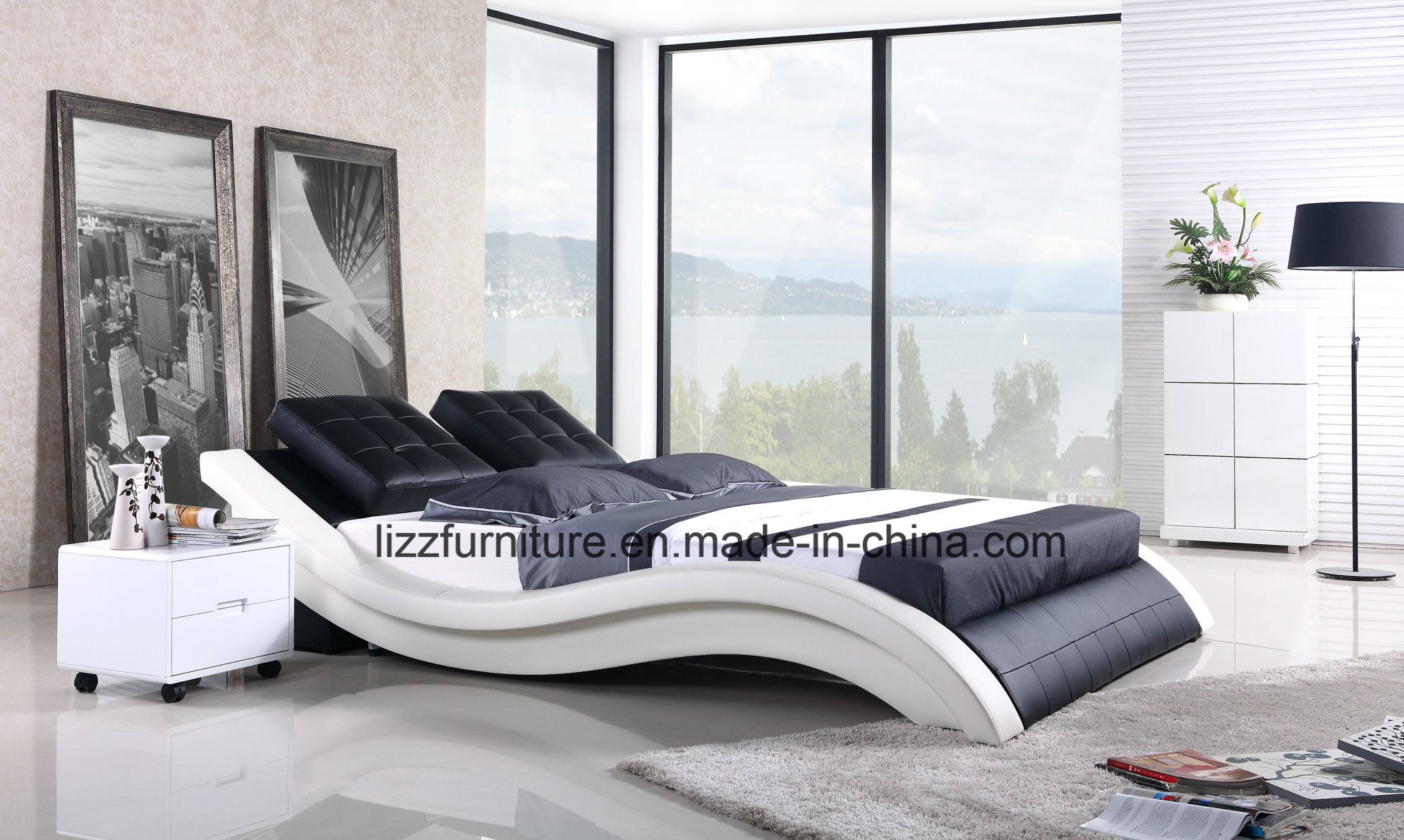 China European Style Wave Bedroom Modern Leather Bed with Wooden ...