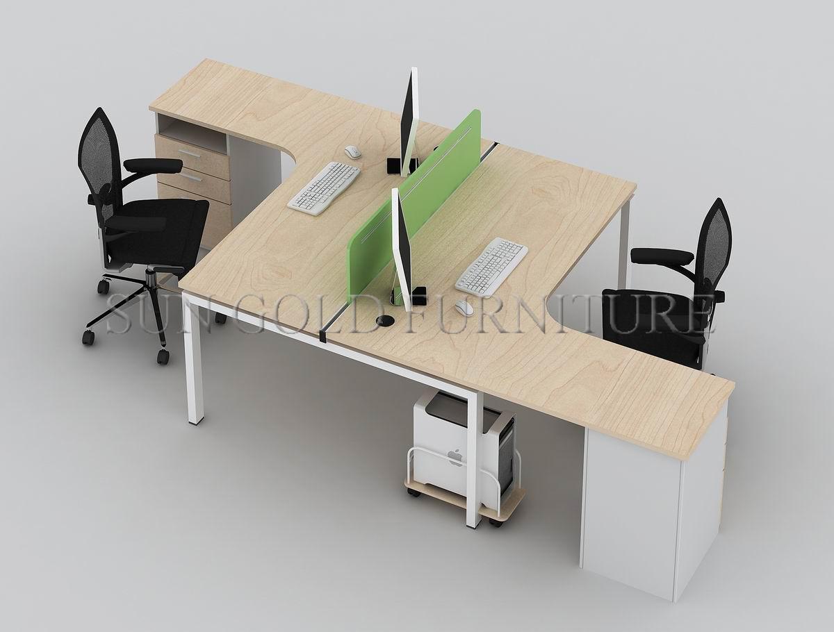 Latest Modern Aluminium T Shaped 2 Person Office Desk Sz Wst741