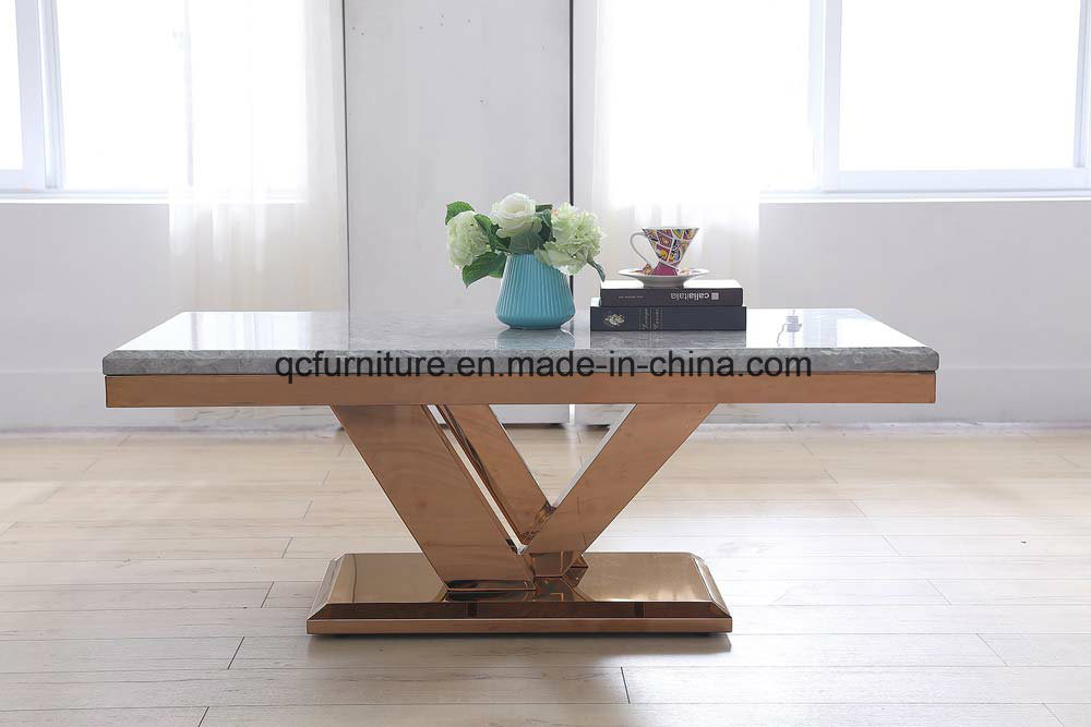 China Modern Design Stainless Steel Furniture Marble Top Center Coffee Table End