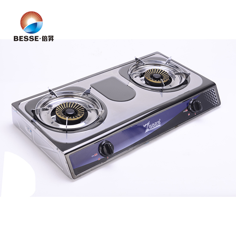 Colorful Steel Gas Stove, Two Burners, Blue Fire