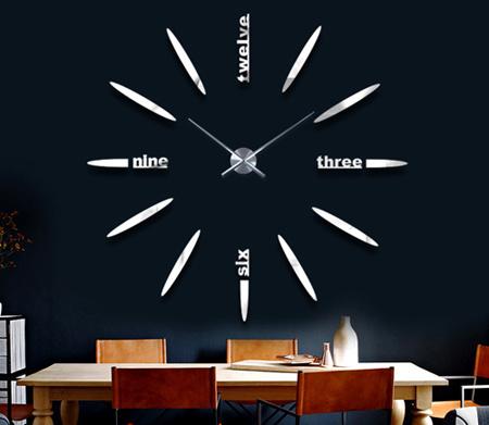 China Black Color Modern Office Wall Decor Acrylic Mirror Unique Clock Design Mir