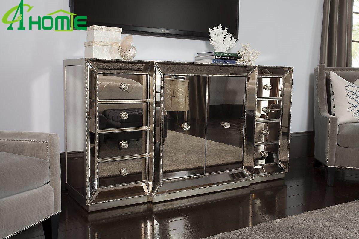 [Hot Item] Antique European Bedroom Furniture Mirror Bedside Table Storage  Cabinets