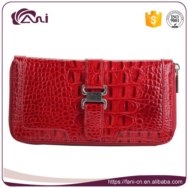 Chinese Red Crocodile Grain Zip Wallets for Women 2017