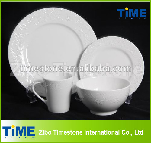16PCS Elegant Embossed White Ceramic Dinnerware