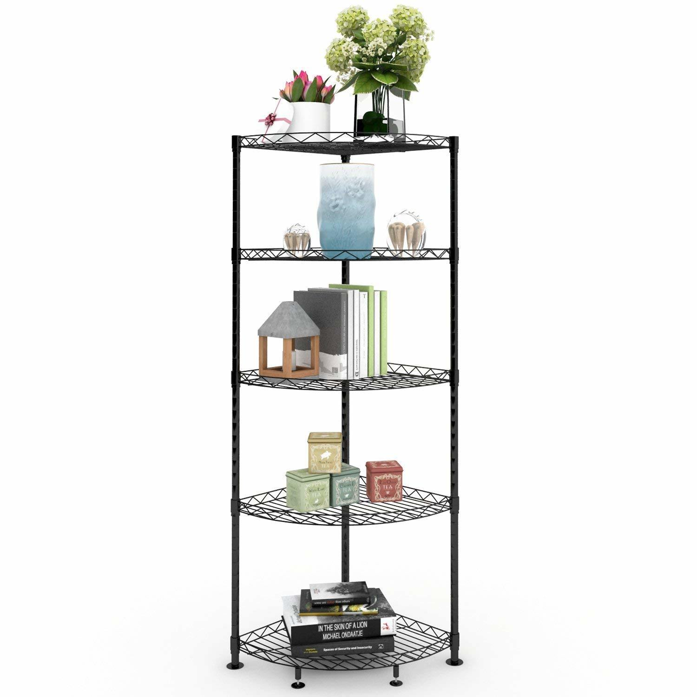 Hot Item Multi Purpose 5 Tiers Home Space Storage Triangle Corner Wire Shelf Rack In Black