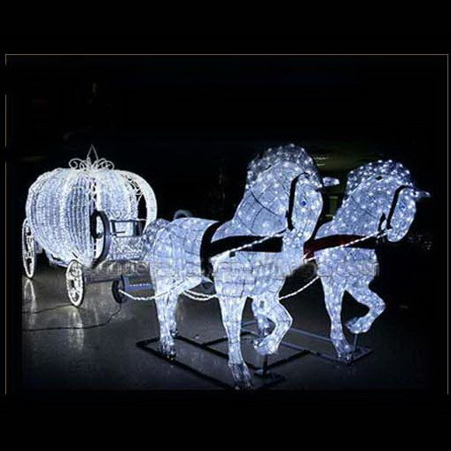 China Permanent Outdoor Reindeer With Sleigh Led Christmas Lights