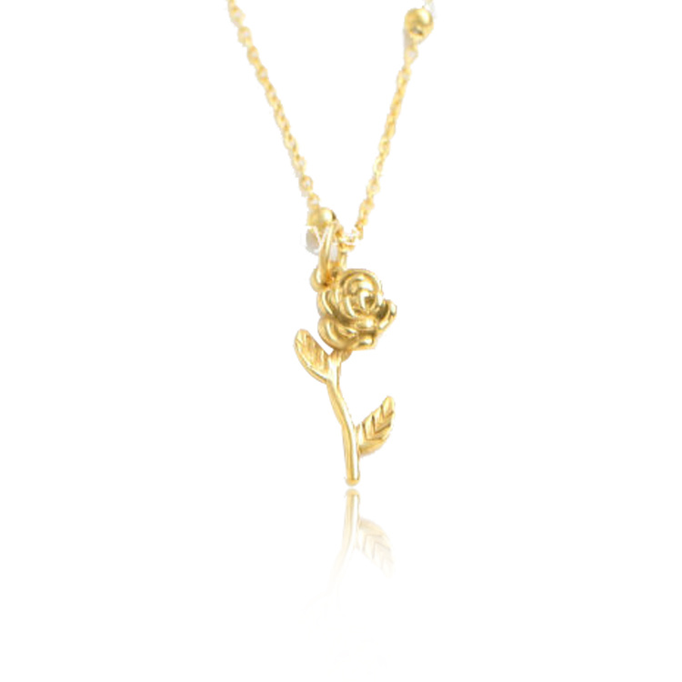 62044c9c96730 [Hot Item] Women Fashion Jewelry Stainless Steel Gold Plated Rose Charm  Necklace