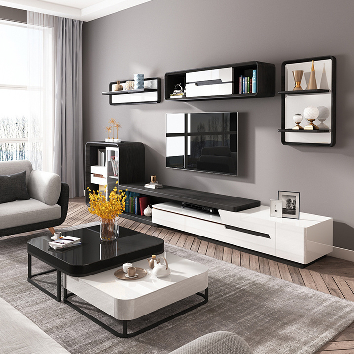 Glass Top Rectangle Tv Stand, Black And White Living Room Furniture