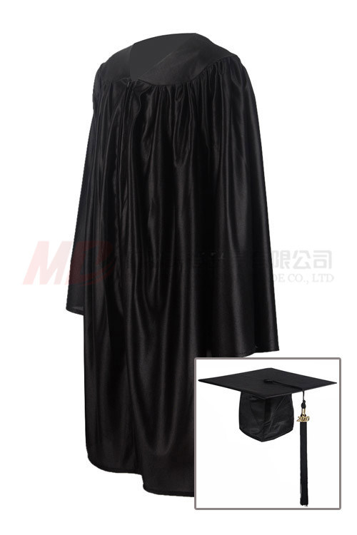 China Shiny Black Graduation Cap Gown for Kindergarten - China Gowns ...