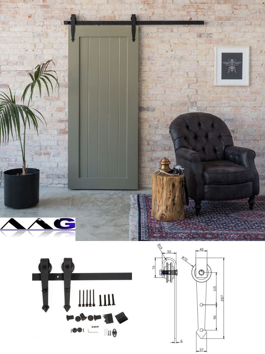 China Antique Style Sliding Barn Door Closet Hardware Kit Set Photos Pictures Made In China Com