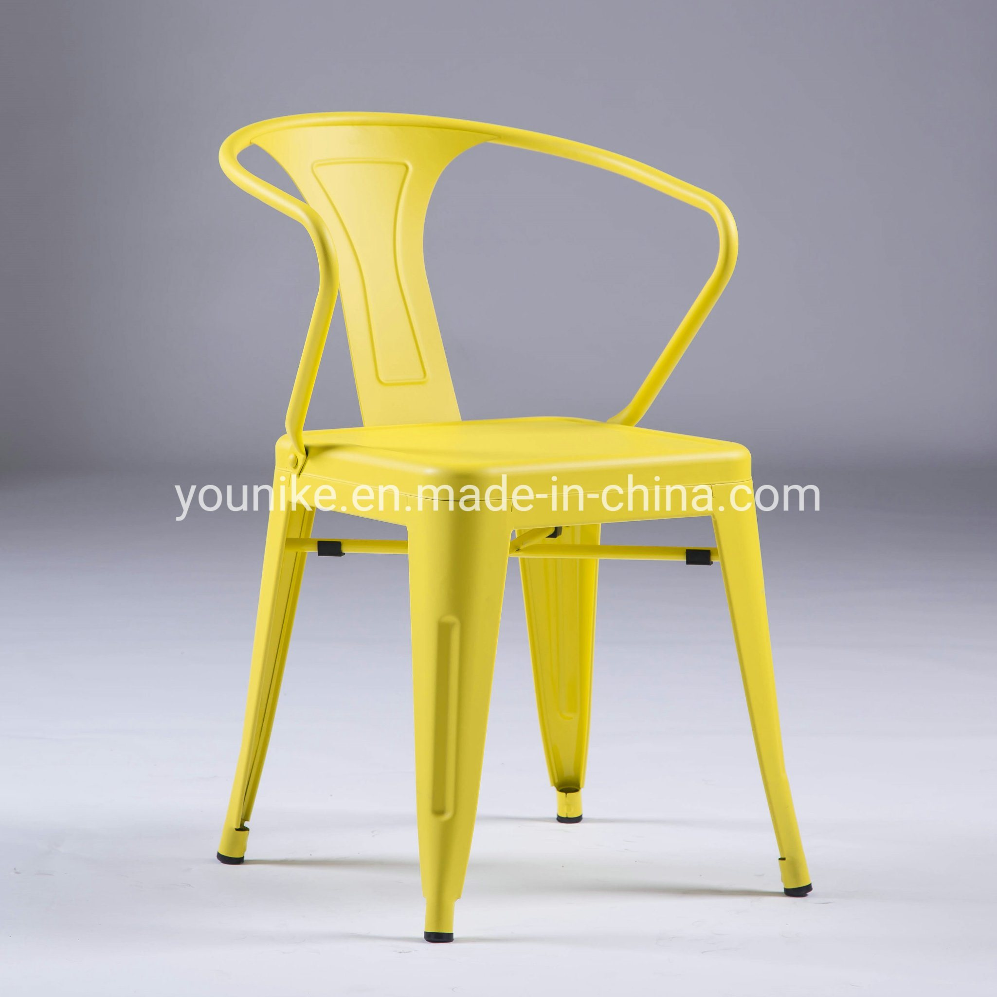 [Hot Item] Industrial Armchair Tolix Metal Dining Chair Yellow