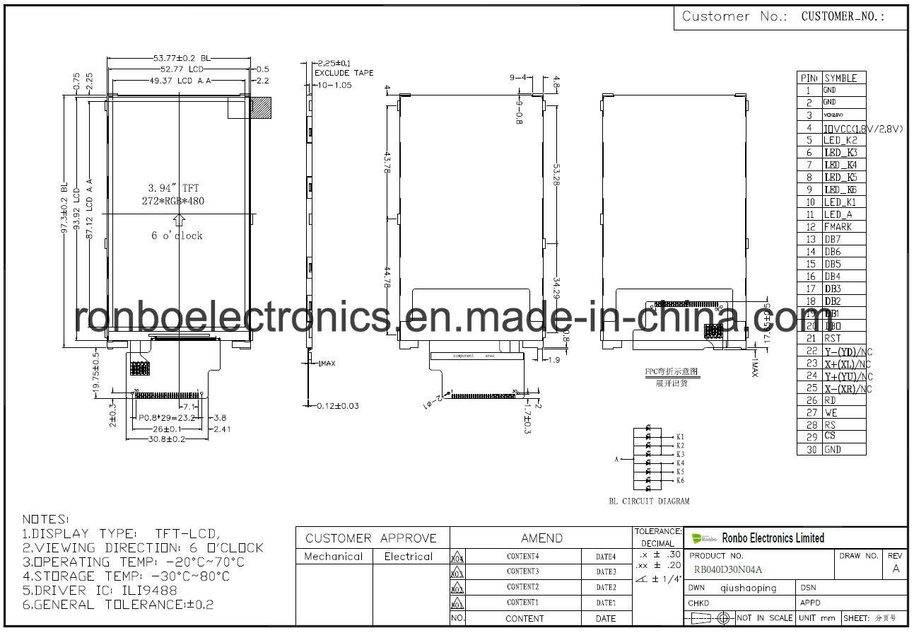 China 40 272x480 Mcu Tft Lcd Screen Ili9488 30pin For Pos 7 Inch Circuit Diagram Doorbell Medical