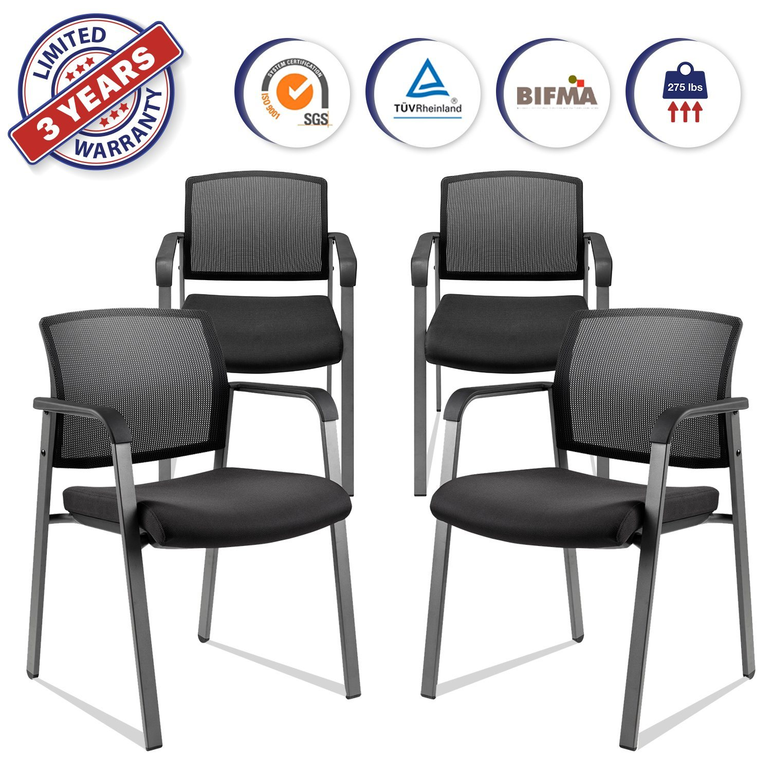Hot Item Mesh Back Stack Arm Chairs With Upholstered Fabric Seat And Ergonomic Lumber Support For Office School Church Guest Reception Black 4 Pack