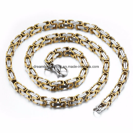 [Hot Item] 8mm Wide Silver Gold Color Flat Byzantine Link Stainless Steel  Necklace Mens Chain Jewelry