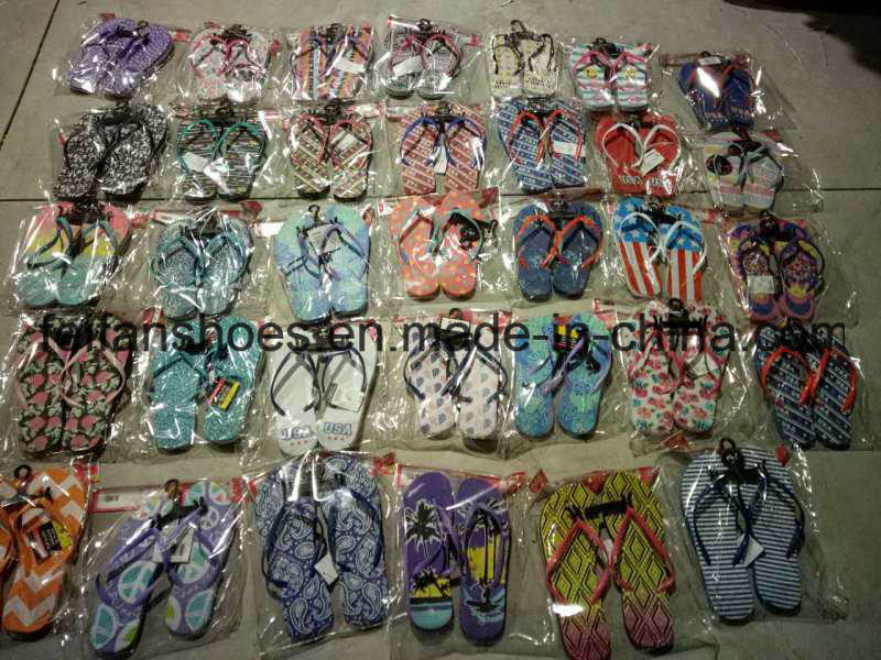 Cheap Price Printing Slippers Flip Flop Stock (FFST111802) pictures & photos