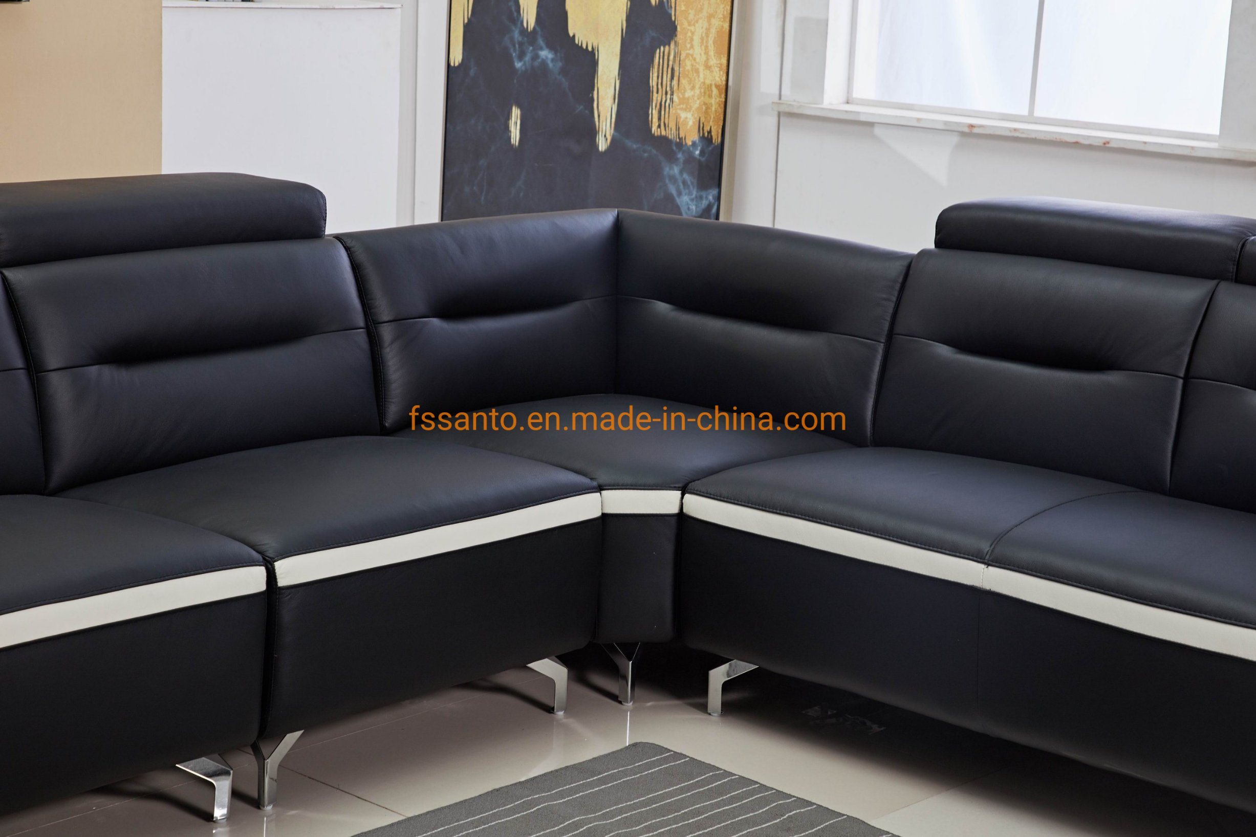 China Modern Fashion Sectional Sofa Set Corner Style Leather