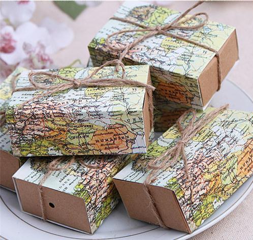 China Casamento World Map Wedding Favors Boxes Wedding Candy Box