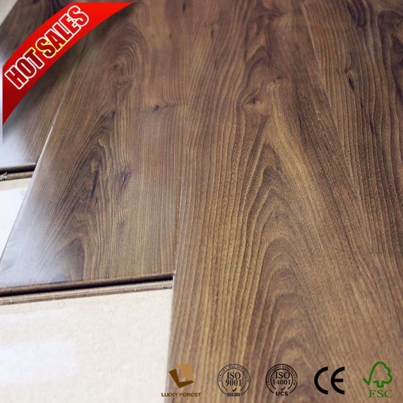 China Wood Grain Surface Laminate Flooring Rubber Hdf Hardwood Building Material