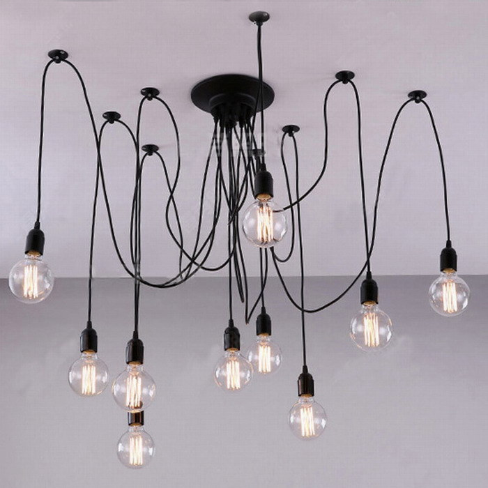 China Modern Spider Black Vintage Pendant Lamp Loft Led 14 Lights E27 For Living Room Restaurants Bar
