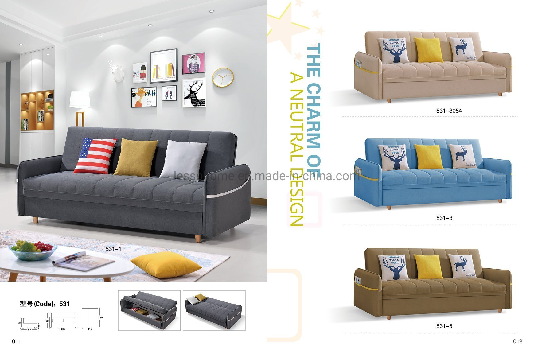 China Folded Sofa Bed With Storage Box