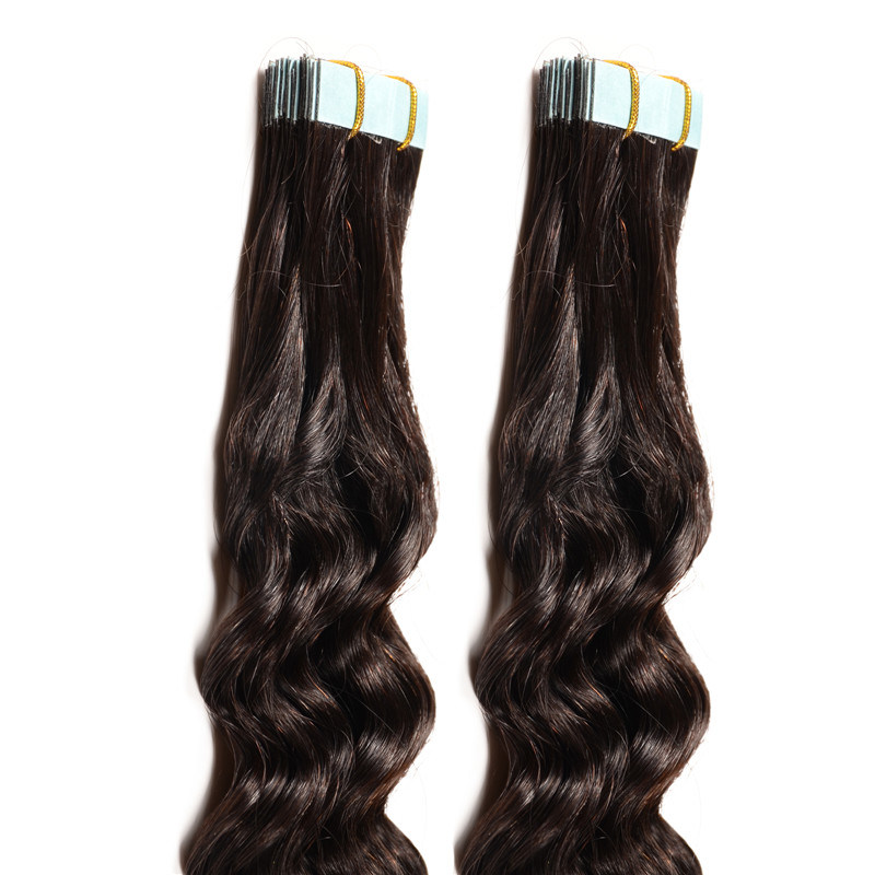 China 18inches Blonde Tape Hair 20pcs Black Brown Skin Weft Hair