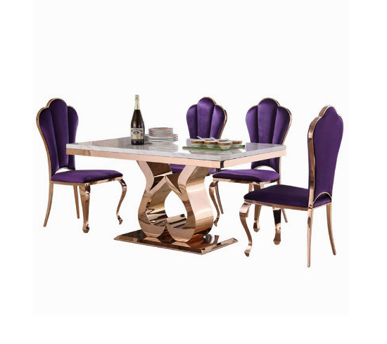 Rose Gold Stainless Steel Dining Table, Dining Set With Chairs