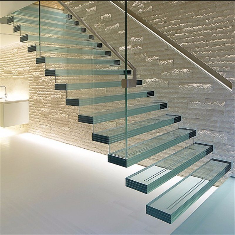 Modern Interior Staircase Materials Photo: China Indoor Tempered Glass Floating Stairs, Wood Floating