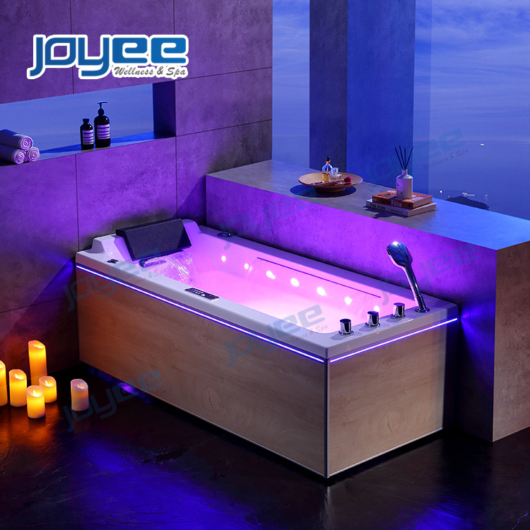 China Joyee Modern Bathtub Single Massage Tub Indoor Whirlpool Hot Tubs With 2 Side Skirting Bathtub For Sale China Indoor Jacuzzi Whirlpool Bathtub
