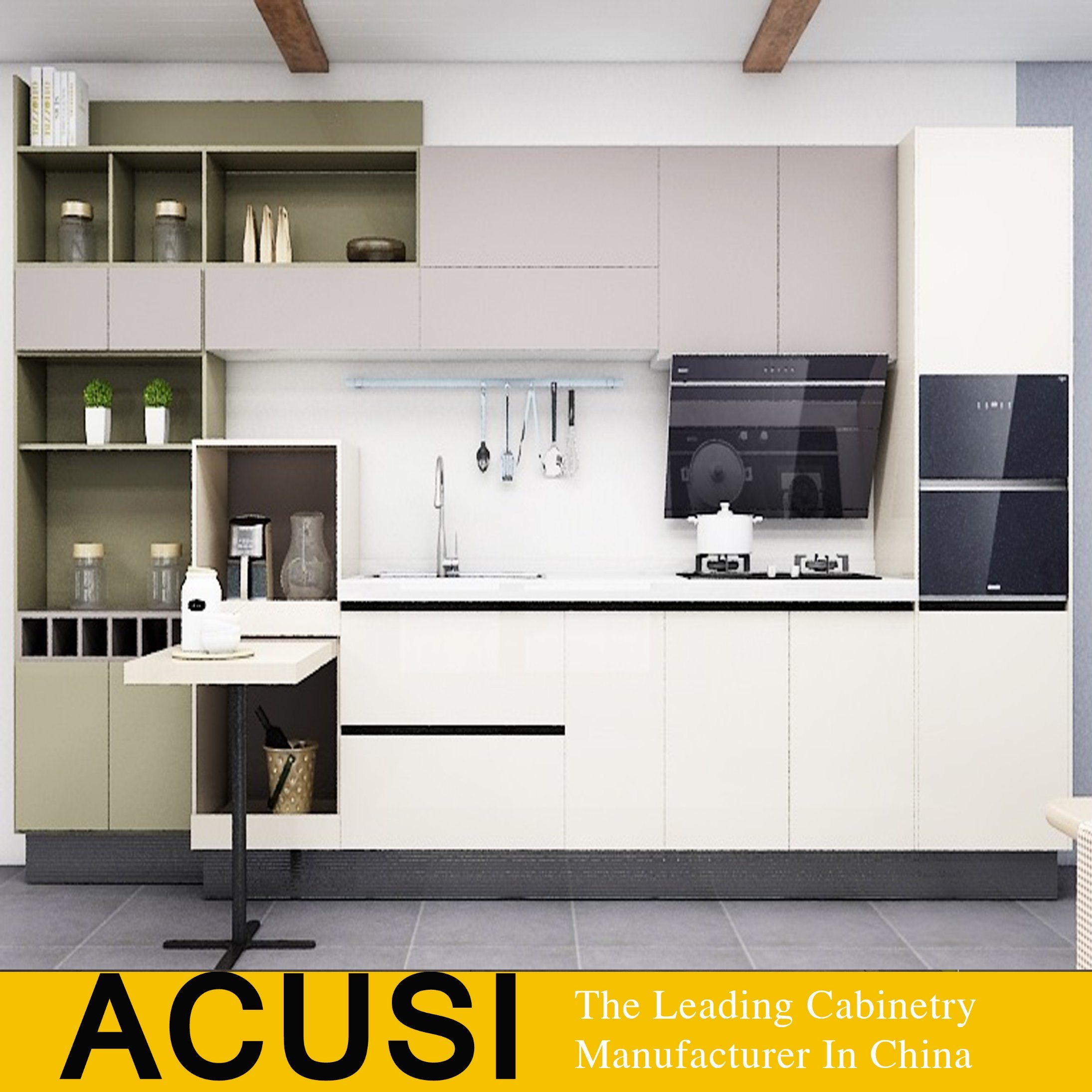 New Hotel Project High Gloss Lacquer Kitchen Cabinets Acs2 W07