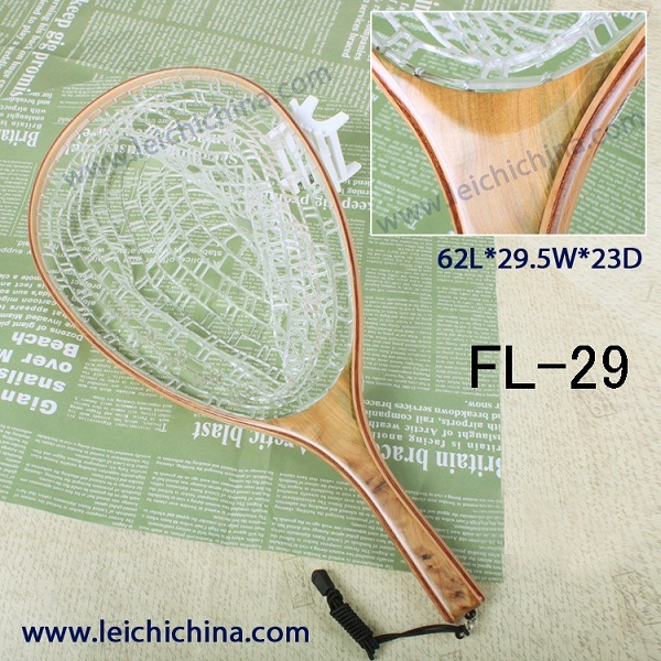 Wooden Long Handle Rubber Fish Landing Nets
