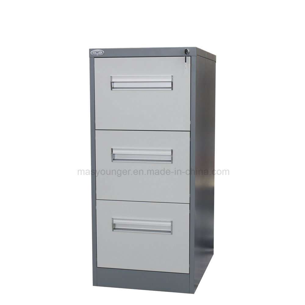 China durable furniture 3 drawer metal safe bedside desk use steel file storage cabinet with key lock china knocked down structure cabinet vertical metal
