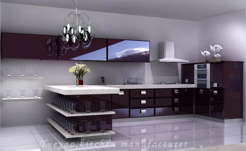China Wine Red Lacquer Kitchen Door Panel Modular Kitchen Cabinets S077 China Kitchen Cabinets Modular Kitchen Cabinet